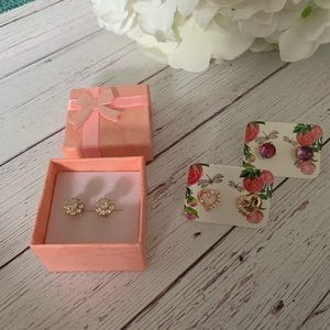 3 pairs of rose gold plated earrings